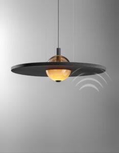 OLEV_ECLIPSE_NUANCE_SILENCE_onde_suono_lampada_fonoassorbente_design_sospensione_vetro_metallo_microforato_suono_assorbe